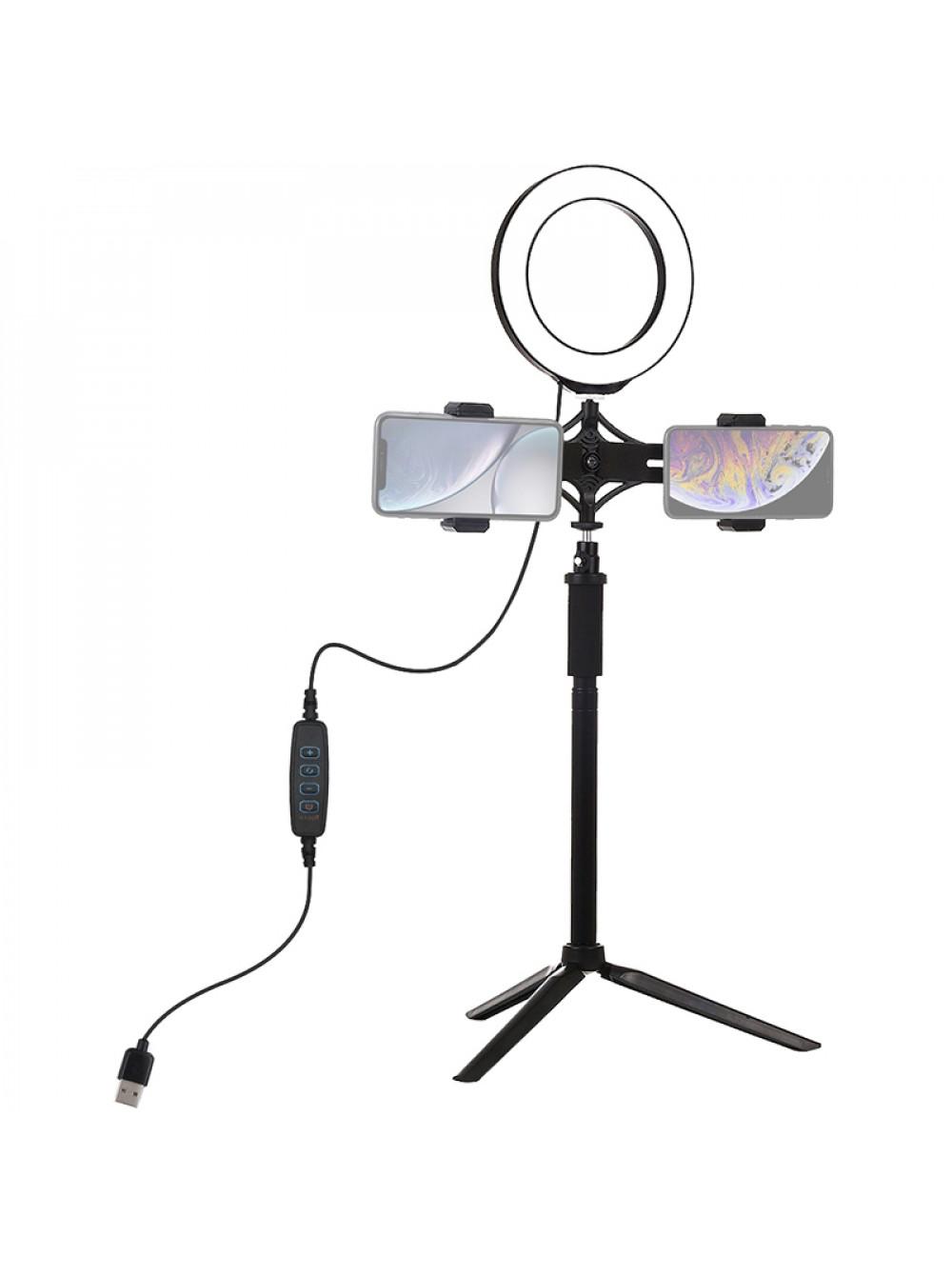 """Кольцевая USB LED лампа Puluz PKT3038 6.2"""" + штатив"""