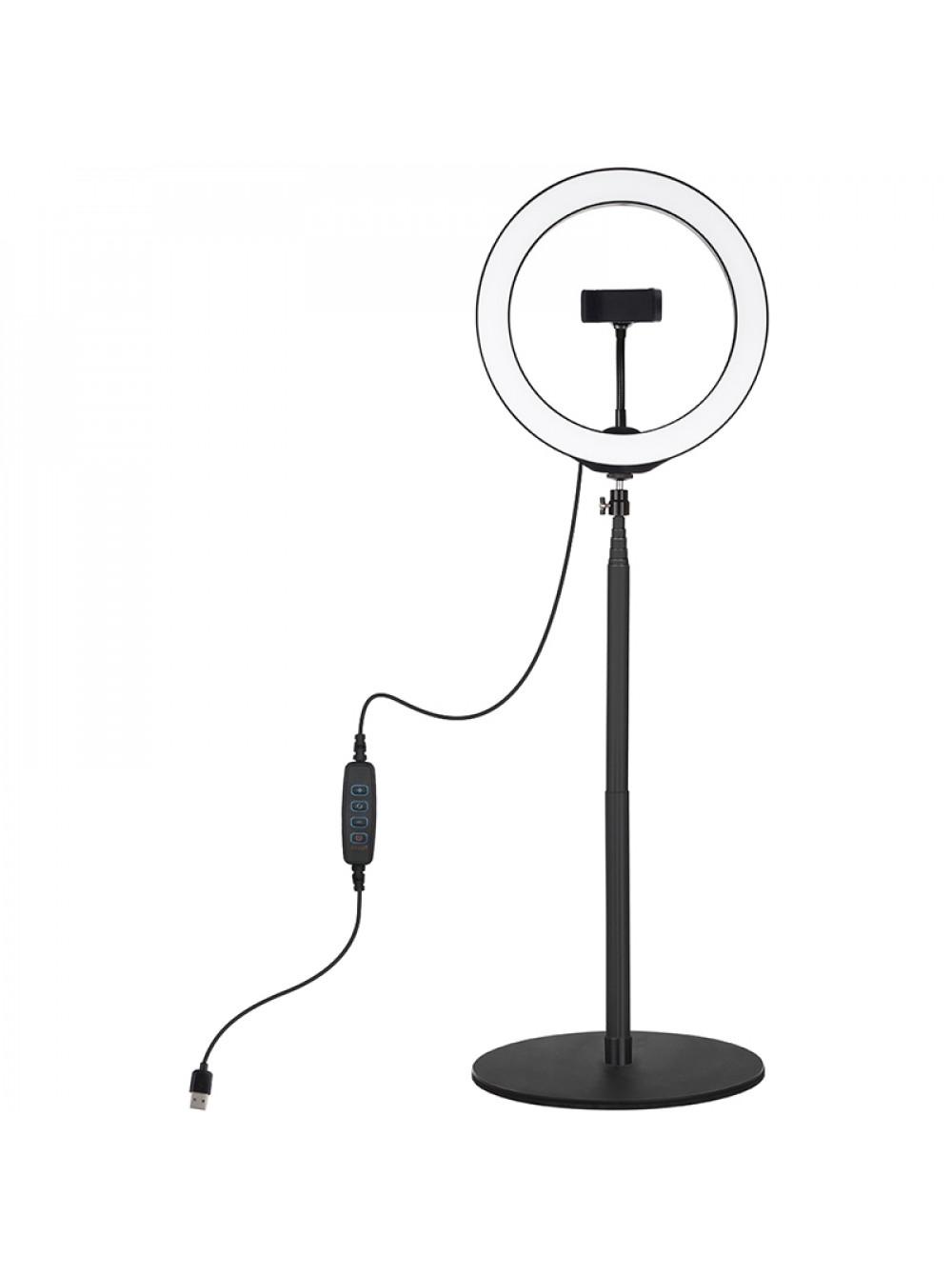 """Кольцевая USB LED лампа Puluz PKT3039 10.2"""" + настольное крепление 140 см"""