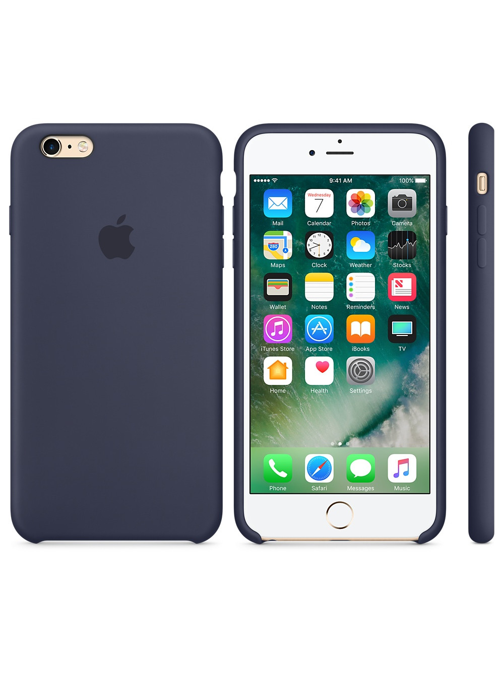 Чехол накладка Silicone Case Iphone 6 6s (Midnight Blue)