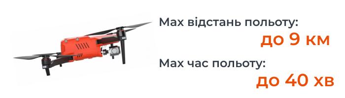 Максимальная дальность полёта составляет девять метров, максимальная скорость 50 км в час